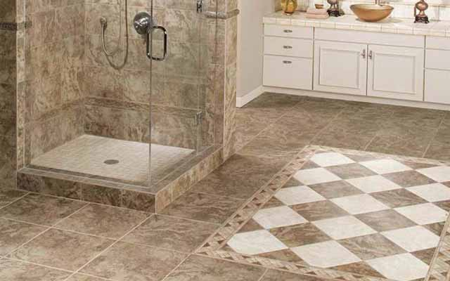 Small bathroom floor tile size